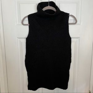 Aritzia Wilfred Black Merino Wool Sleeveless Turtleneck Sweater XXS